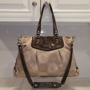 Coach Ashley Dotted OpArt Brown Carry All Satchel